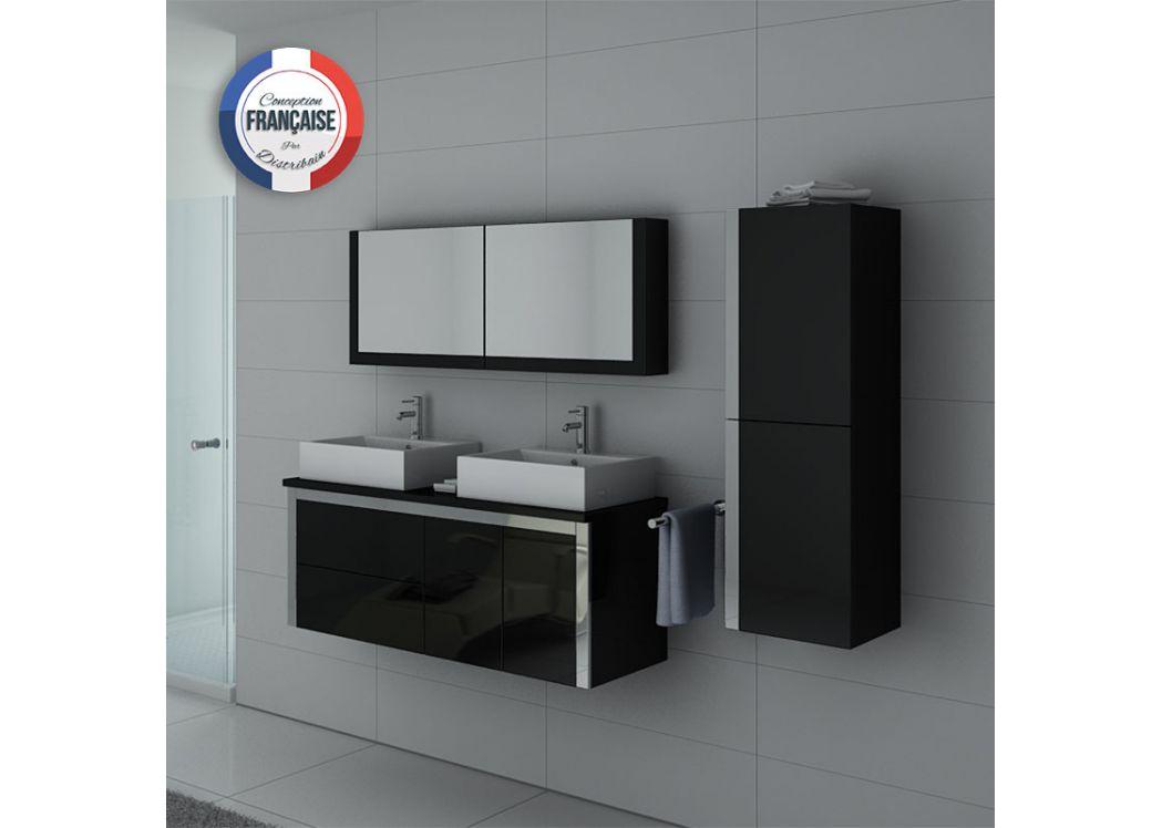 meuble de salle de bain double vasque noir laqu dis026 1300n meuble double vasque laqu. Black Bedroom Furniture Sets. Home Design Ideas