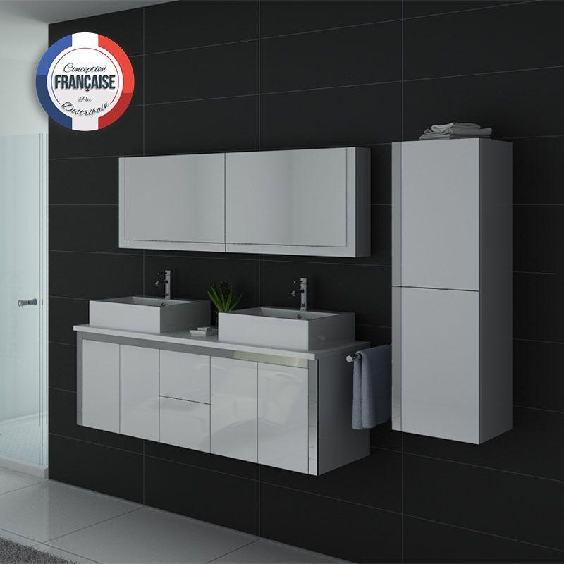 Meuble double vasque blanc laqu dis026 1500b meuble de salle de bain 2 vasques blanc - Meuble double vasque blanc ...