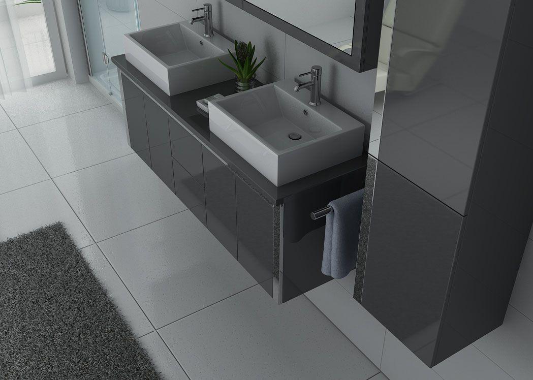 Meuble double vasque gris laqu dis026 1500gt meuble de for Meuble vasque solde