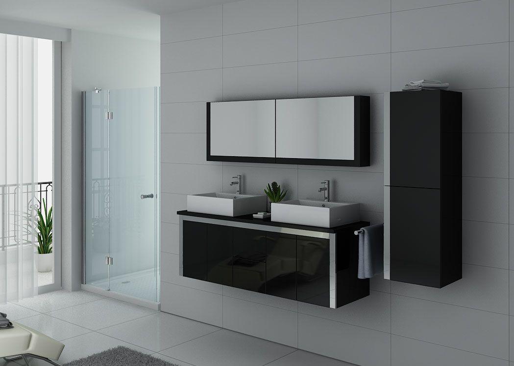 Meuble double vasque noir laqu dis026 1500n distribain - Meuble double vasque noir ...