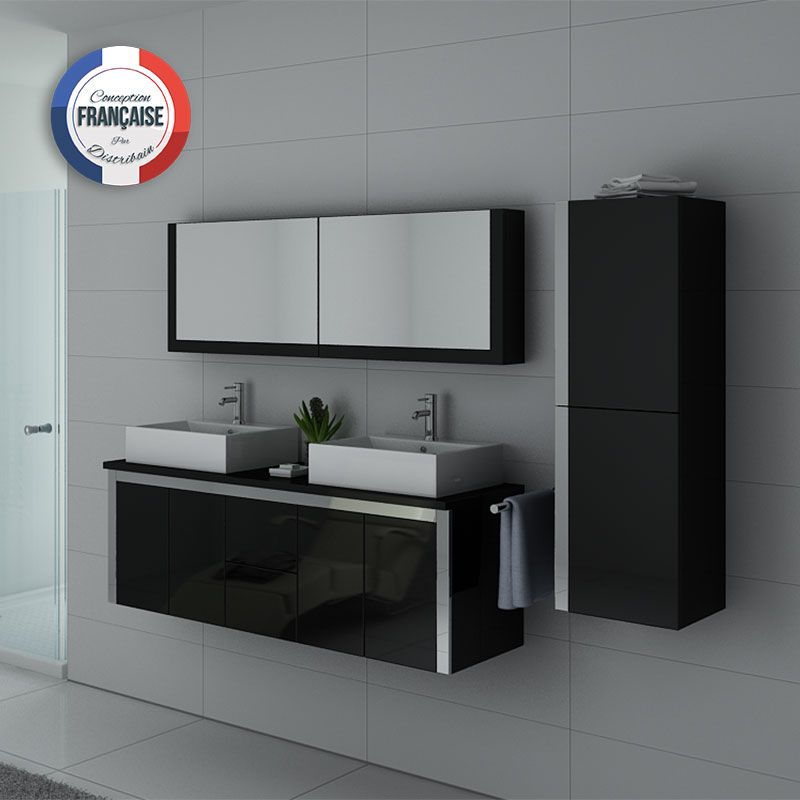 Ensemble de meubles double vasque DIS026-1500 Noir