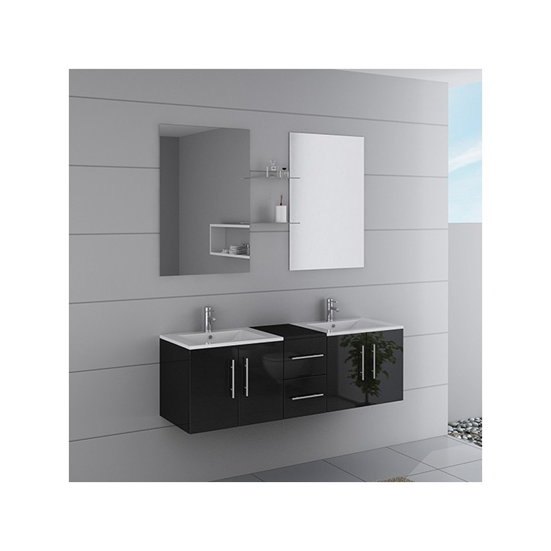 Meuble double vasque suspendu noir dis1500n distribain for Double vasque salle de bain