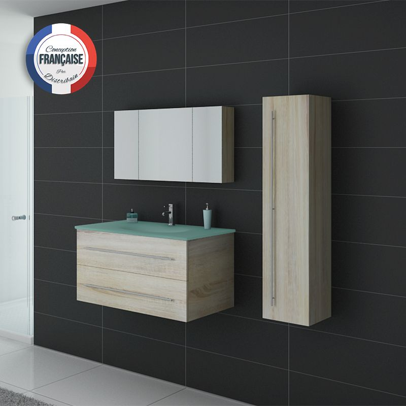 Meuble simple vasque dis983sc couleur bois distribain - Meuble sdb simple vasque ...