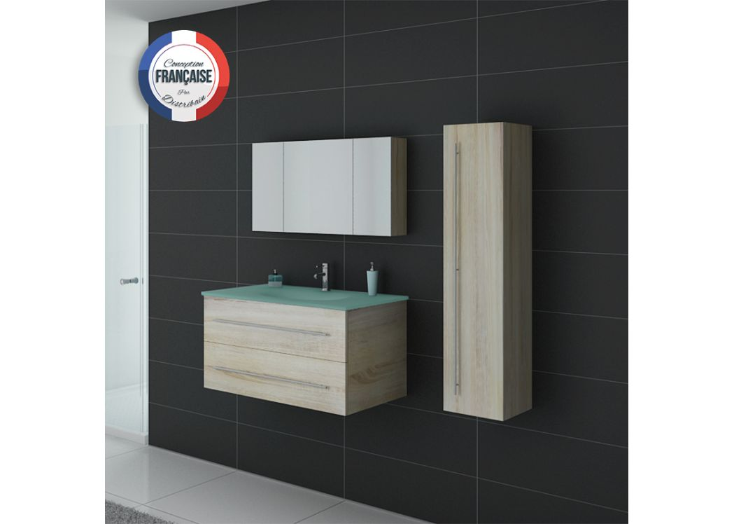 Meuble simple vasque dis983sc couleur bois distribain for Meuble salle de bain simple vasque bois
