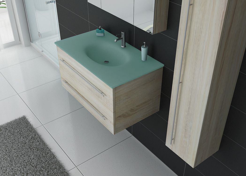 Meuble simple vasque dis983sc couleur bois distribain for Plan vasque design