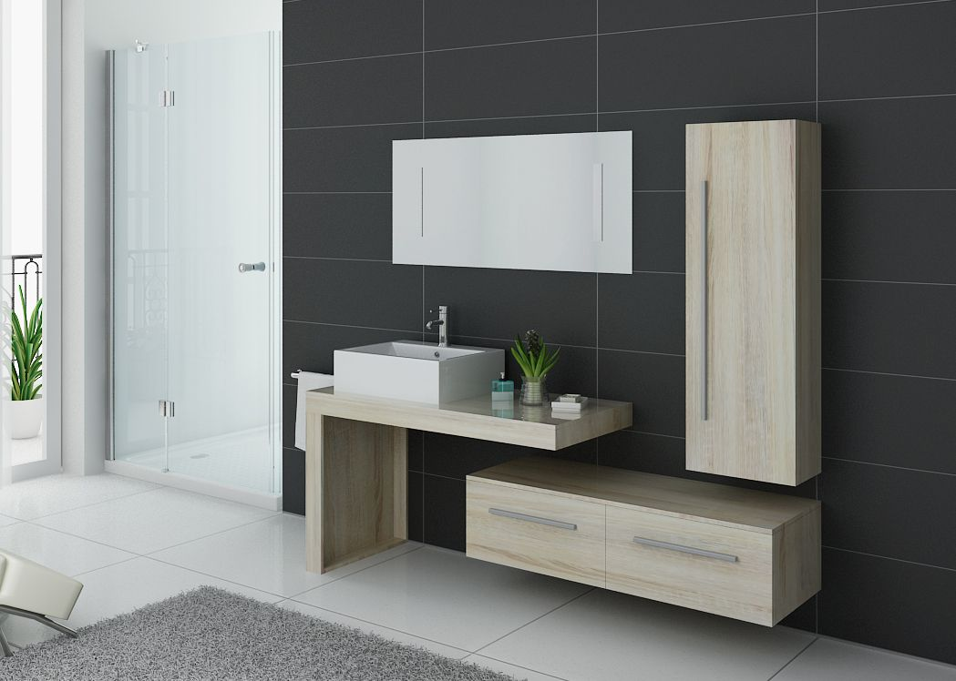 Ensemble de meuble de salle de bain 1 vasque dis9250 for Meuble vasque simple