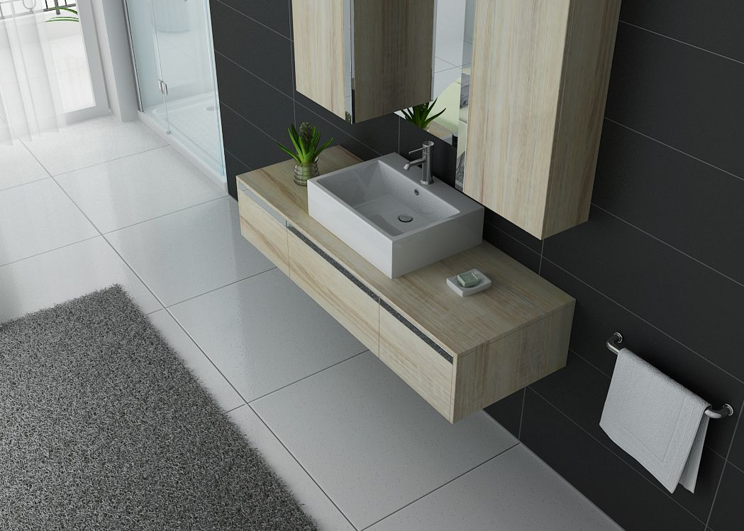 Meuble de salle de bain simple vasque scandinave gloss et inox dis9650sc di - Meuble simple vasque ...