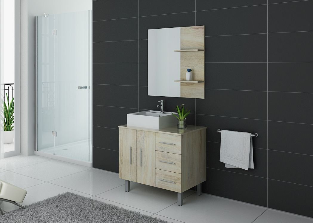 Meuble salle de bain simple vasque florence scandinave - Meuble vasque simple ...