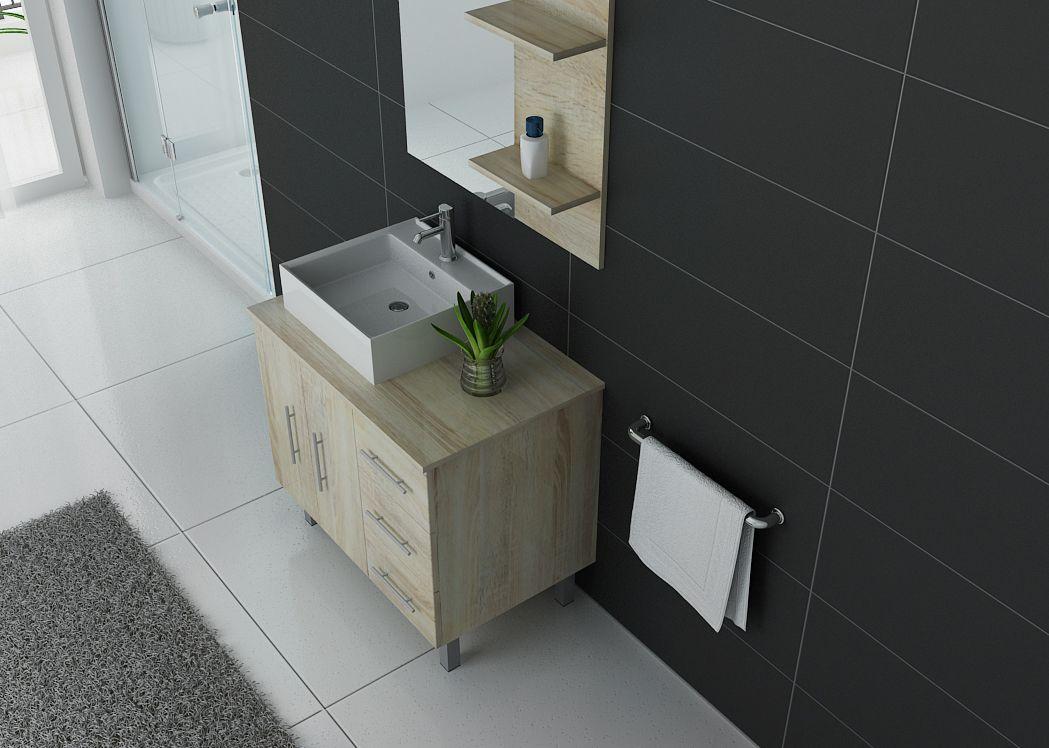 Meuble simple vasque pour salle de bain florence meuble vasque simple 80 cm distribain - Meuble salle de bain simple vasque ...