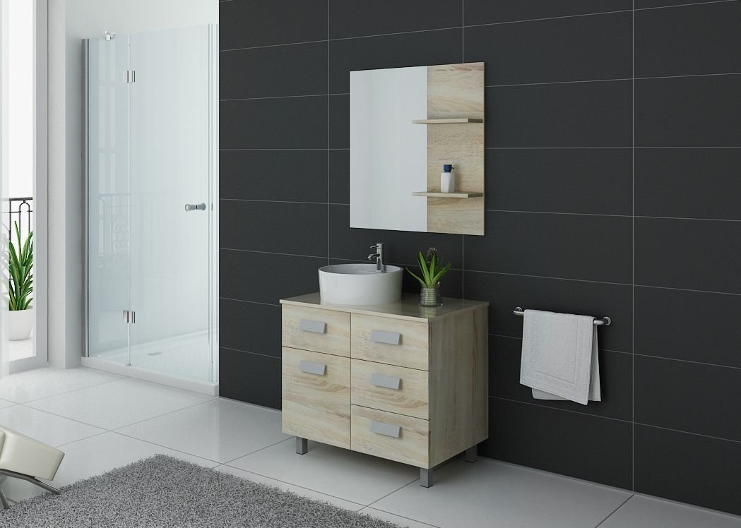 meuble de salle de bain simple vasque 80 cm meuble de salle de bain 1 vasque milan distribain. Black Bedroom Furniture Sets. Home Design Ideas