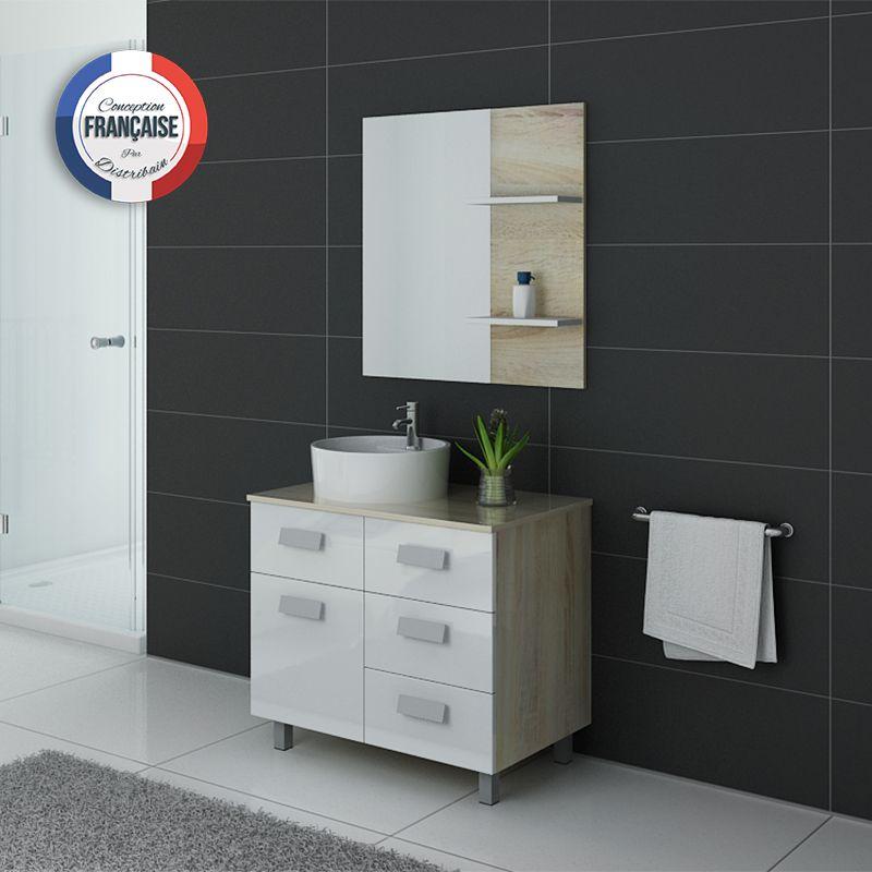 Meuble salle de bain bicolore MILAN Scandinave et blanc