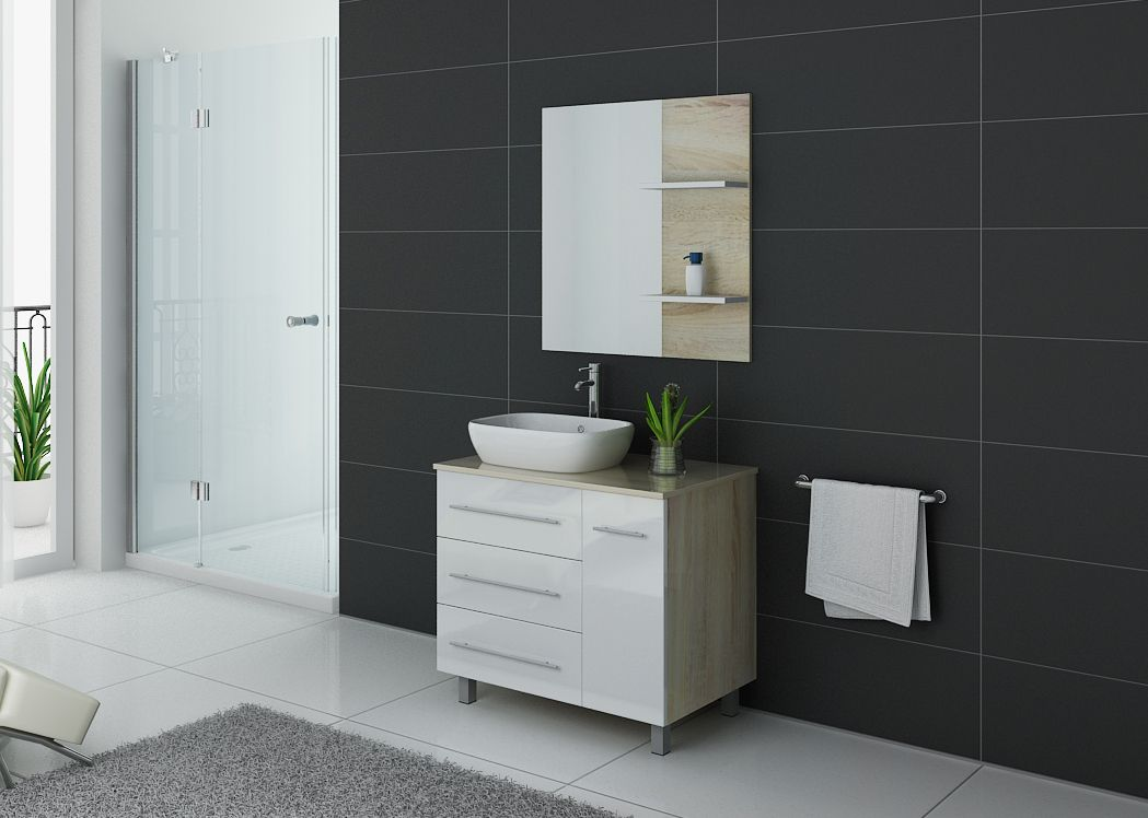 meuble simple vasque pas cher toscane meuble de salle de bain simple vasque 80 cm distribain. Black Bedroom Furniture Sets. Home Design Ideas