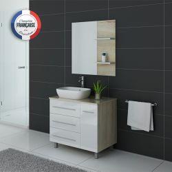 Meuble simple vasque TOSCANE Scandinave et Blanc