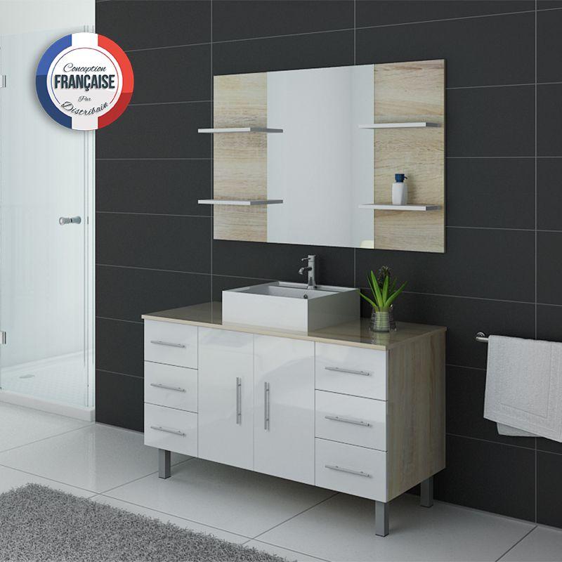 Meuble salle de bain sur pieds TURIN Scandinave et blanc