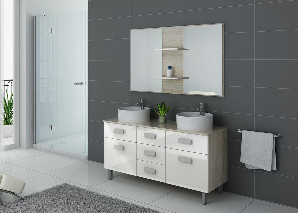 Meuble de salle de bain 140 cm double vasque dis911sc b - Meuble vasque blanc ...