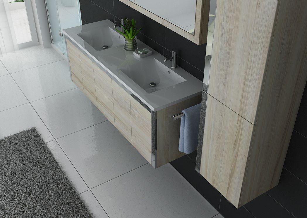 ensemble meuble de salle de bain double vasque scandinave dis025 1500 teinte bois clair. Black Bedroom Furniture Sets. Home Design Ideas