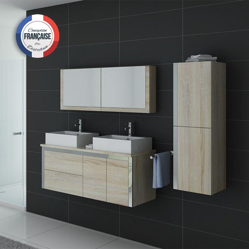 Meuble de salle de bain deux vasques dis026 1300sc meuble for Largeur double vasque salle de bain