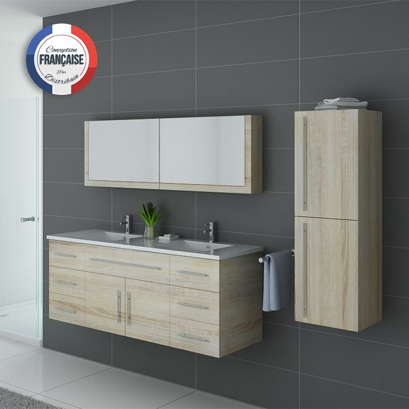 Meuble de salle de bain double vasque et colonne meuble - Meuble de salle de bain complet ...
