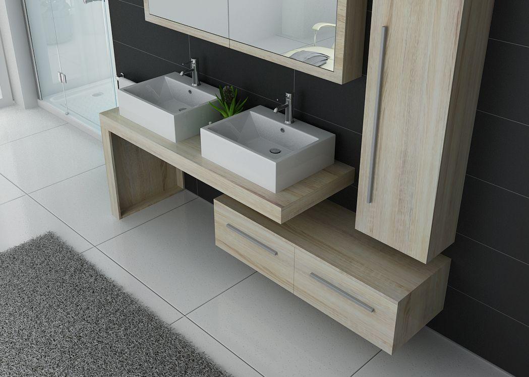 Meuble de salle de bain 2 vasques design dis9350sc meuble for Meuble deux vasque