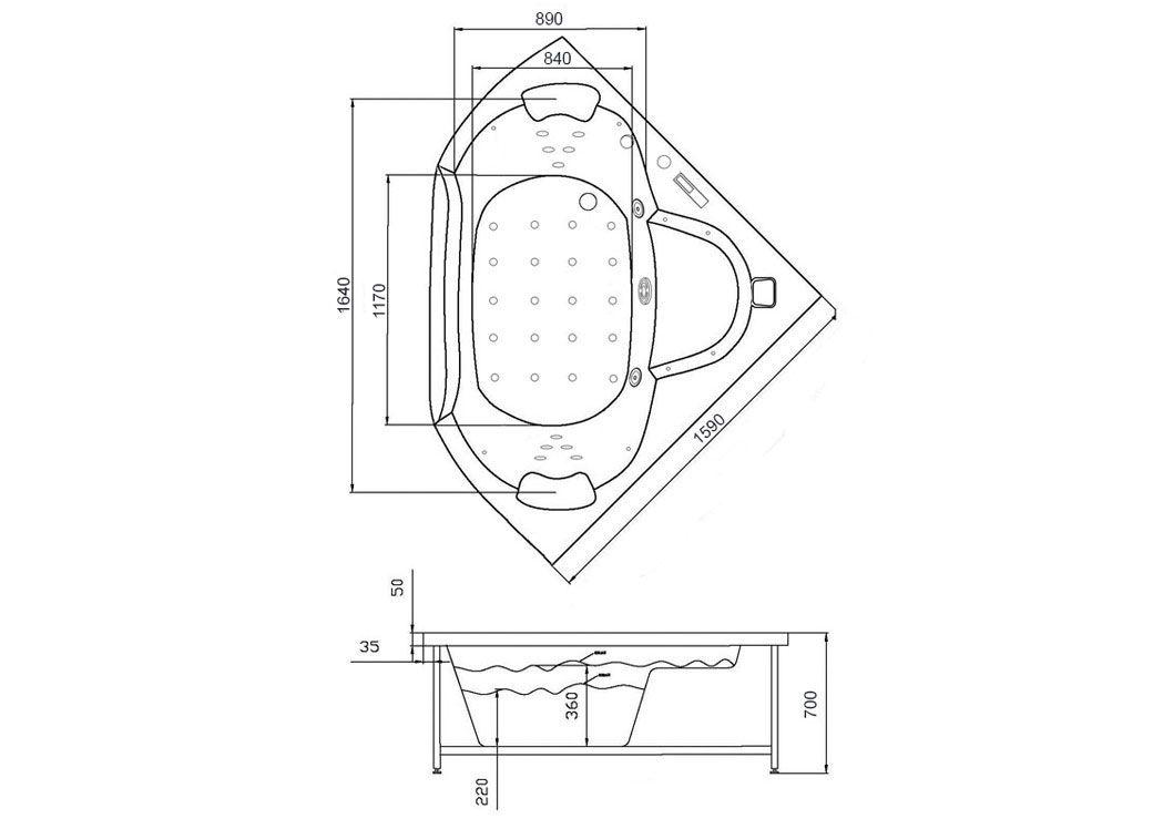 Baignoire baln o d 39 angle noire belle le black baignoire for Dimension baignoire balneo