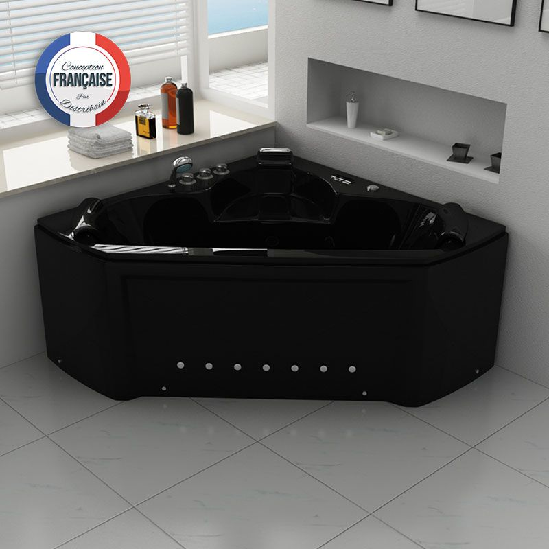 baignoire baln o d 39 angle noire maloya black baignoire baln o d 39 angle 2 places 28 jets distribain. Black Bedroom Furniture Sets. Home Design Ideas