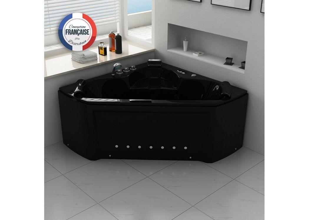 baignoire baln o d 39 angle noire maloya black baignoire baln o d 39 angle 2 places 28 jets distribain. Black Bedroom Furniture Sets. Home Design Ideas