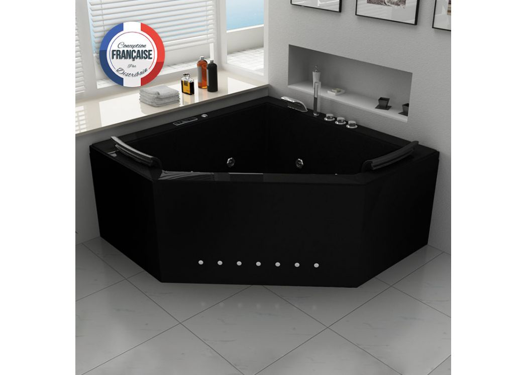 baignoire baln o d 39 angle noire 31 jets baignoire baln o d 39 angle 2 places duo black distribain. Black Bedroom Furniture Sets. Home Design Ideas