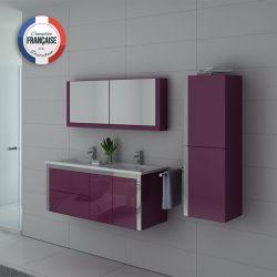 Ensemble salle de bain double vasque DIS025-1200 Aubergine