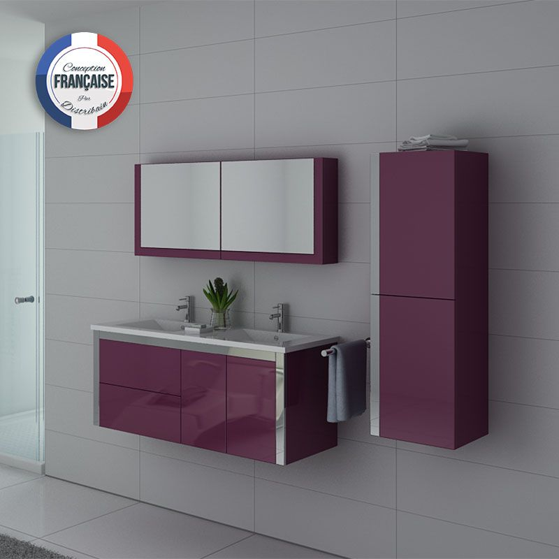 ensemble meuble de salle de bain double vasque 120 cm aubergine dis025 1200au. Black Bedroom Furniture Sets. Home Design Ideas