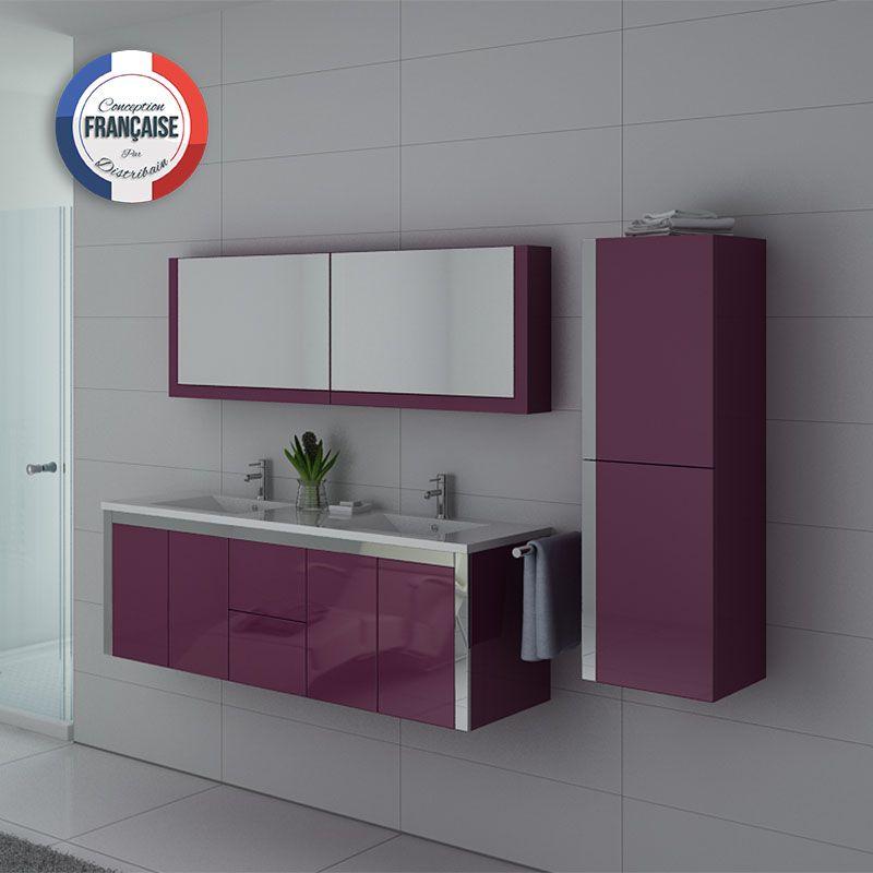 Meuble double vasque DIS025-1500 Aubergine designé par Distribain