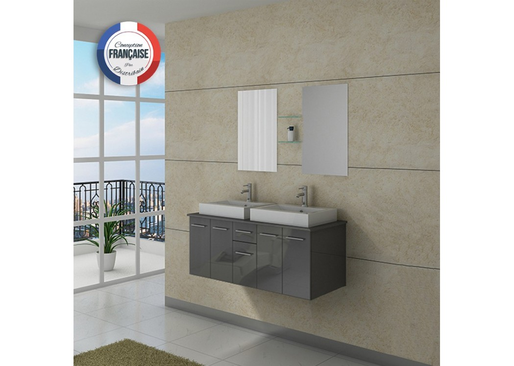Meuble double vasque dis981gt gris taupe distribain for Meuble double vasque solde