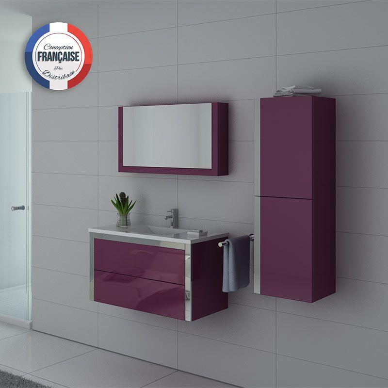 Meuble simple vasque DIS025-900 Aubergine