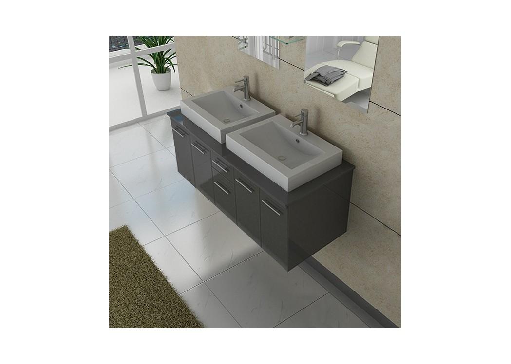 meuble double vasque dis981gt gris taupe distribain. Black Bedroom Furniture Sets. Home Design Ideas