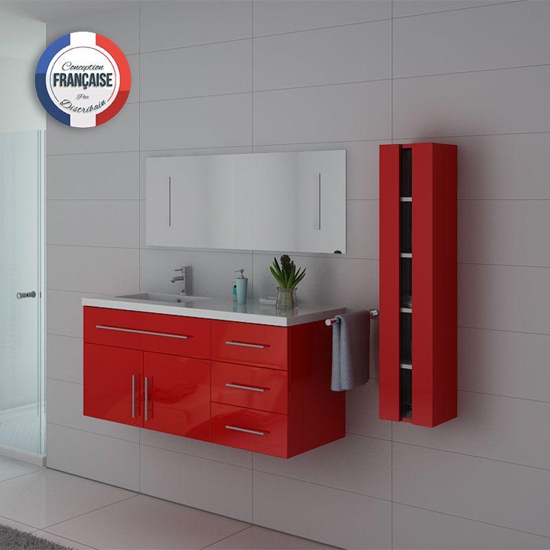 Meuble simple vasque rouge Coquelicot URBAN