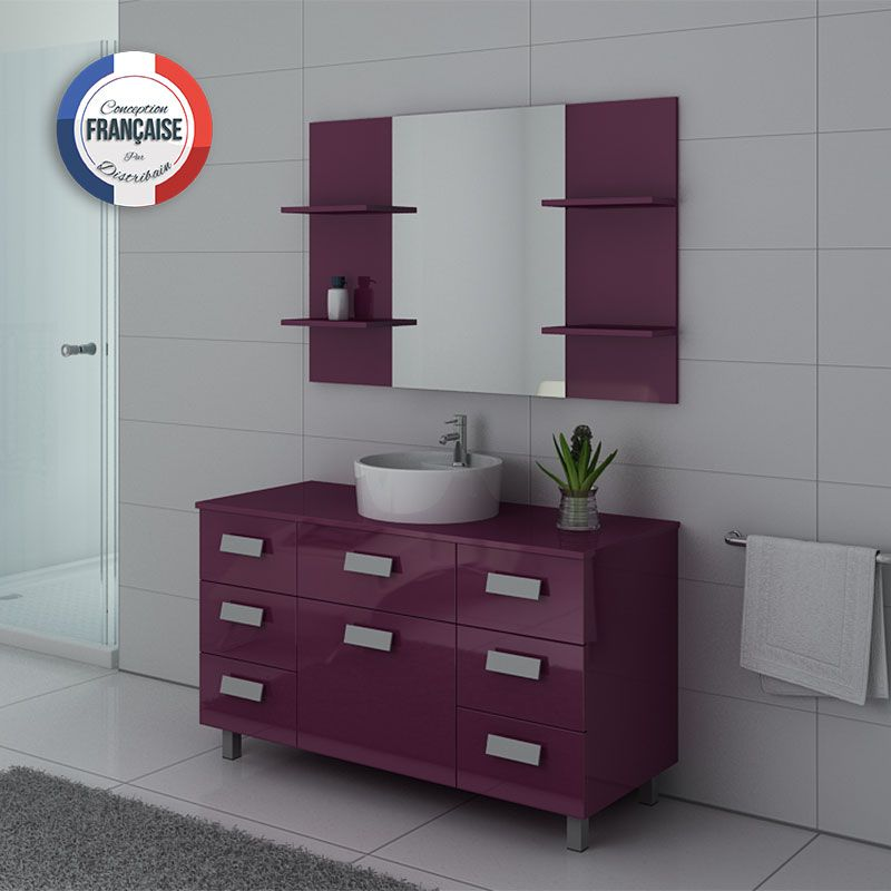 ensemble vasque et meuble imperial aubergine meuble de salle de bain 1 vasque 120 cm distribain. Black Bedroom Furniture Sets. Home Design Ideas