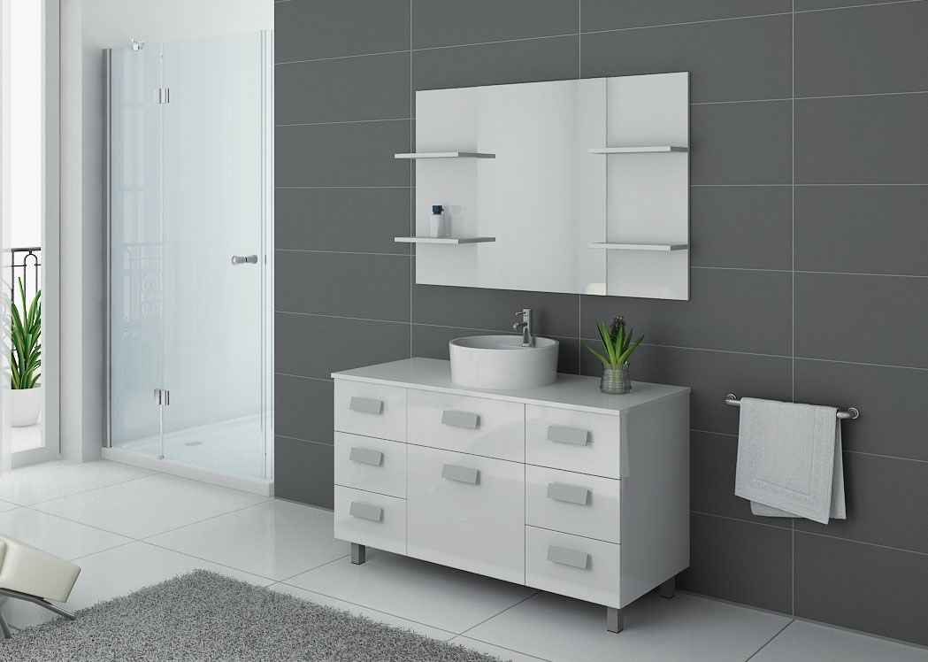 meuble salle de bain 1 vasque 120 cm ensemble de salle de bain blanc imperial distribain. Black Bedroom Furniture Sets. Home Design Ideas