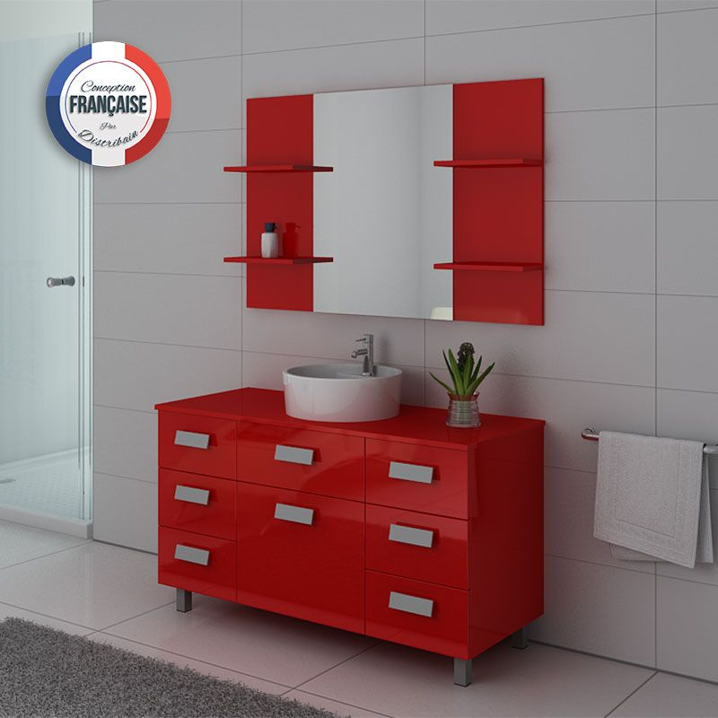 meuble de salle de bain 1 vasque 120 cm imperial meuble de salle de bain rouge distribain. Black Bedroom Furniture Sets. Home Design Ideas