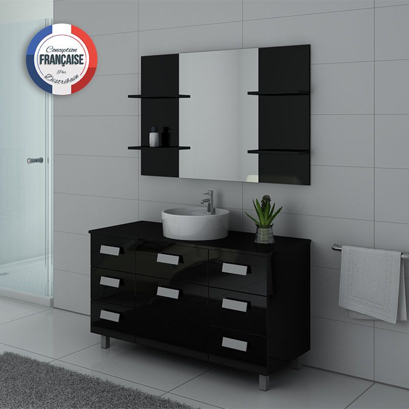 ensemble de salle de bain noir imperial meuble simple vasque 120 cm distribain. Black Bedroom Furniture Sets. Home Design Ideas