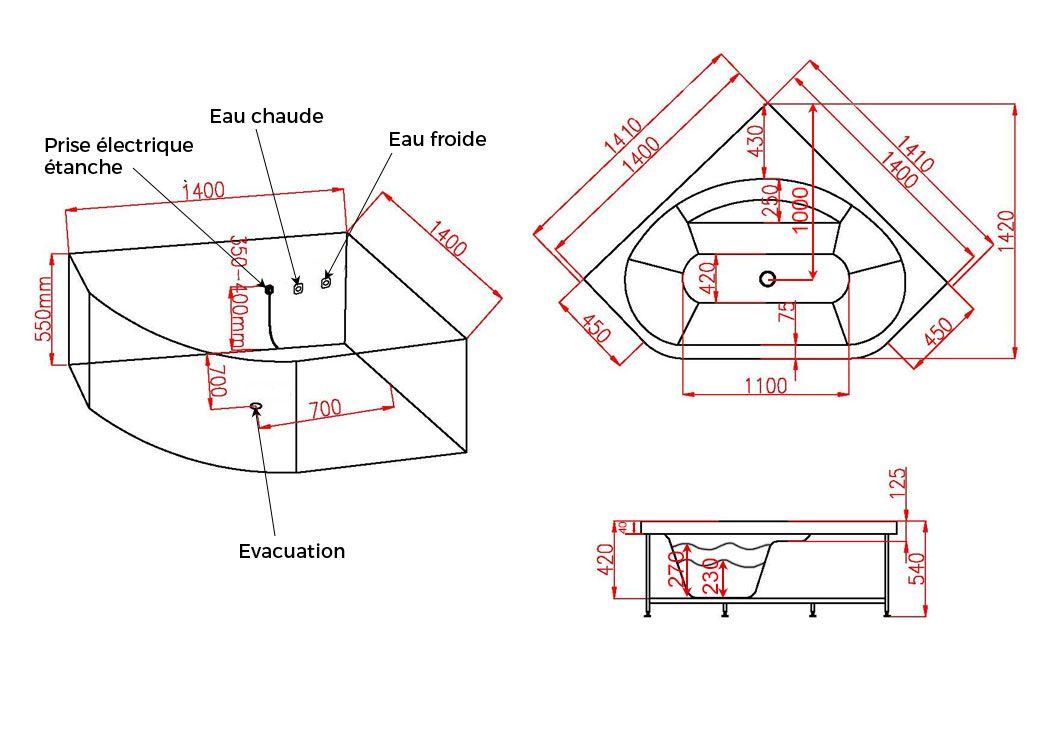 Baignoire D Angle Balneo 140x140 Eden Baignoire Balneo D Angle Avec Cascade 140x140
