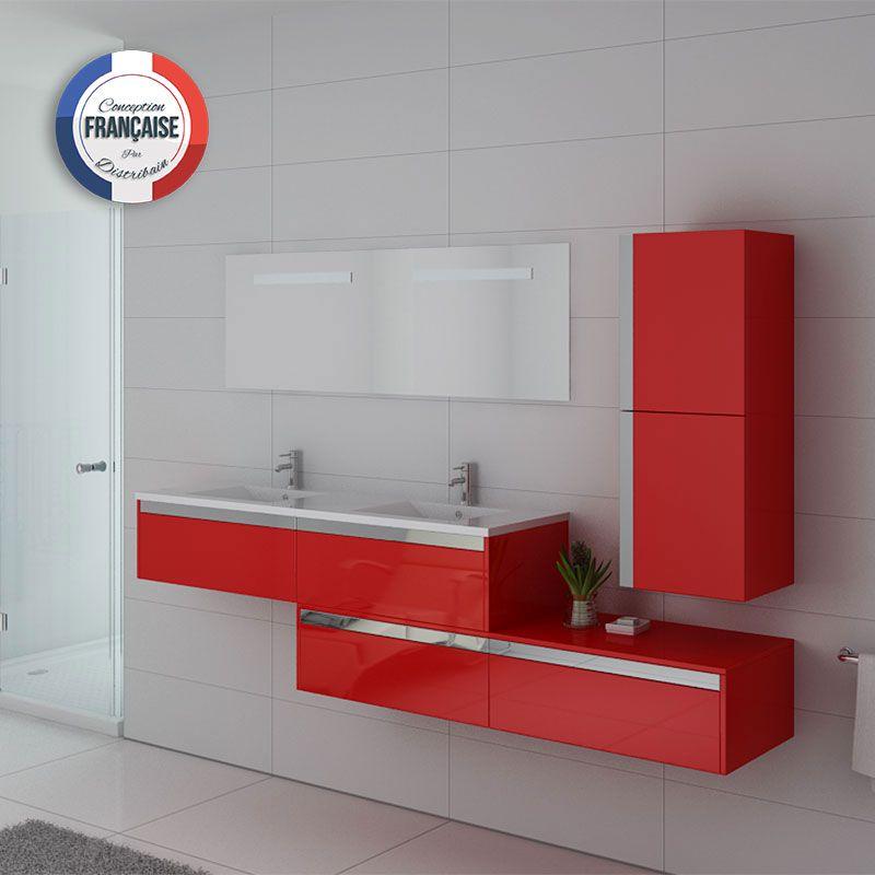 Meuble double vasque rouge bellissimo co meuble de salle for Meuble salle de bain rouge double vasque