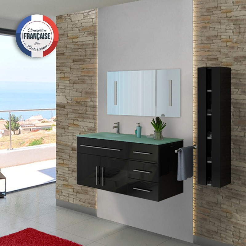 ensemble de salle de bain noir dis945n meuble de salle de bain 1 vasque 120 cm distribain. Black Bedroom Furniture Sets. Home Design Ideas