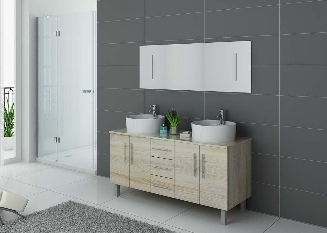 Meuble double vasque sur pieds dis989sc meuble de salle - Vasque de salle de bain ...
