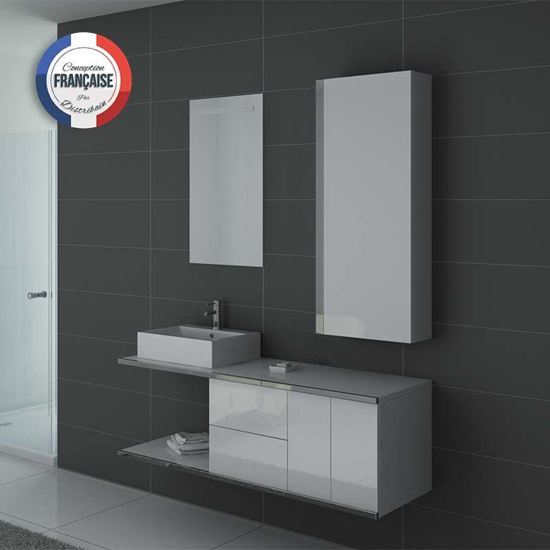 Meuble simple vasque DIS9450 Blanc laqué et inox