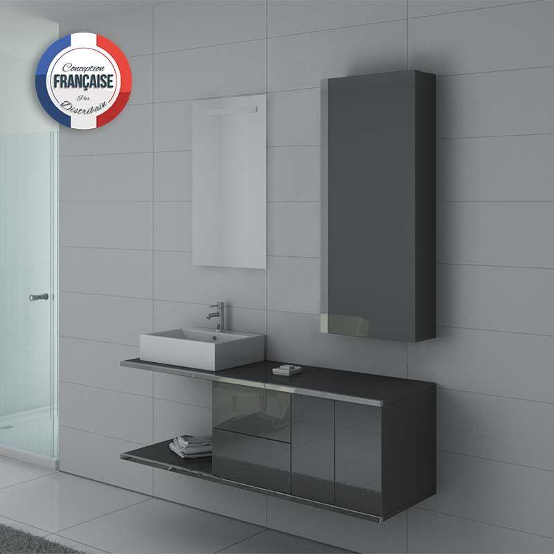 meuble de salle de bain gris meuble 1 vasque pour salle de bain dis9450gt distribain. Black Bedroom Furniture Sets. Home Design Ideas