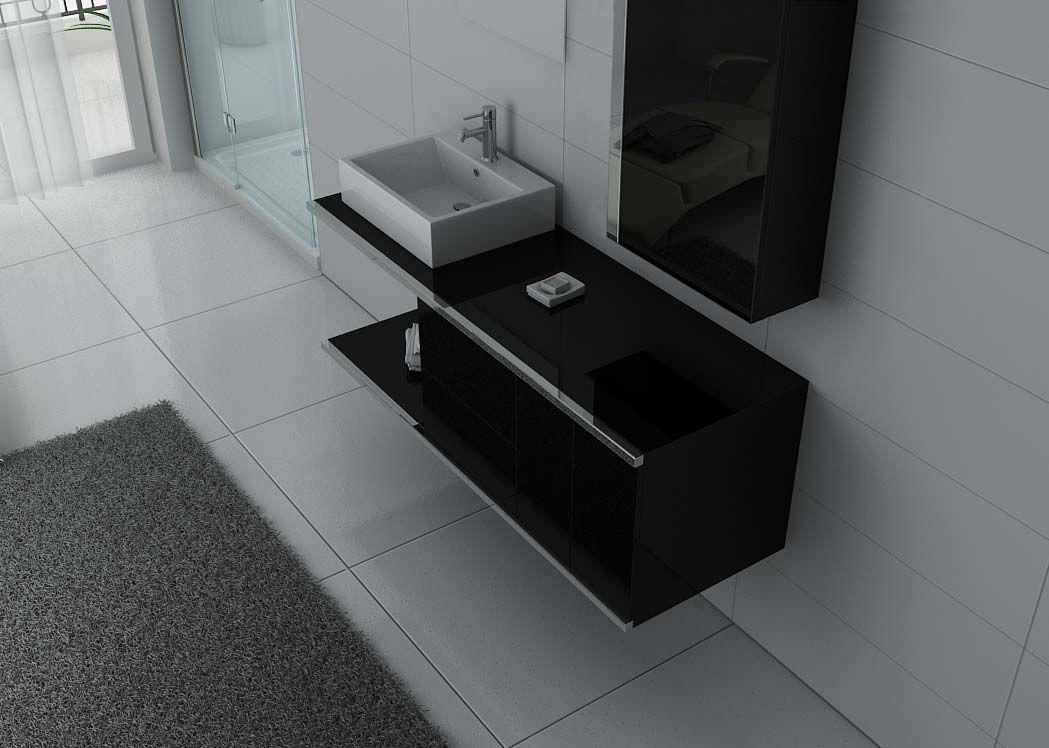 meuble 1 vasque pour salle de bain meuble noir pour salle de bain dis9450n distribain. Black Bedroom Furniture Sets. Home Design Ideas