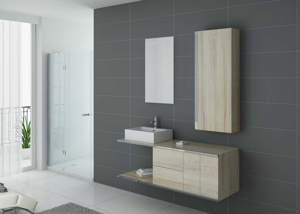Meuble simple vasque scandinave meuble de salle de bain 1 vasque dis9450sc distribain - Meuble salle de bain simple vasque ...