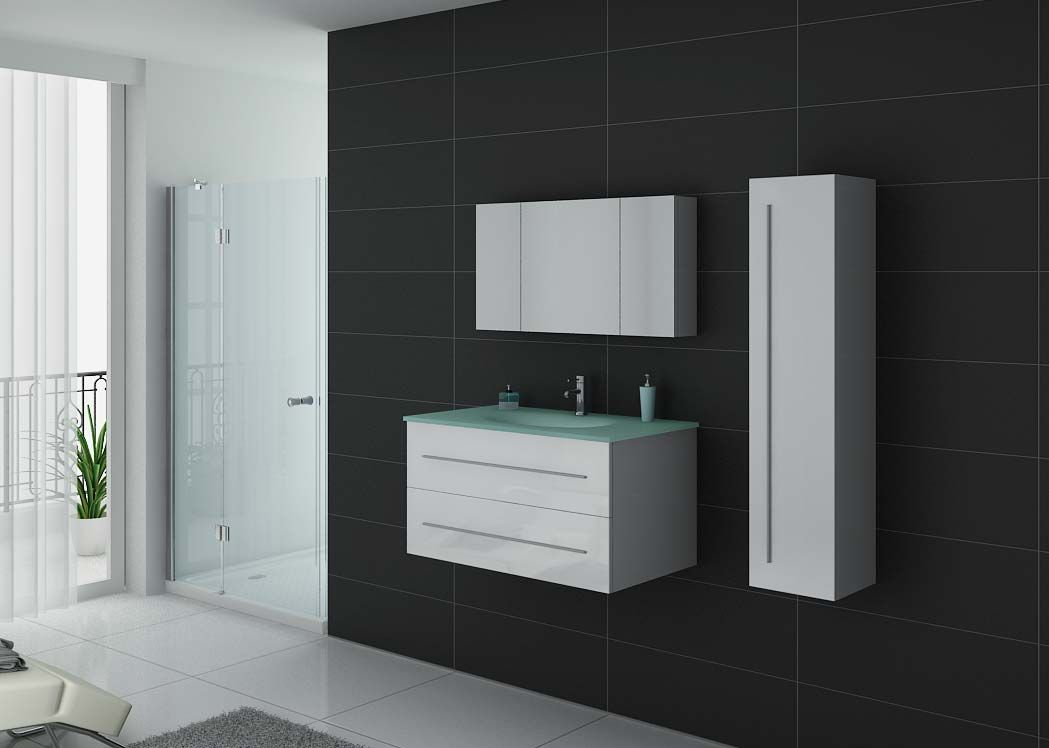 ensemble de meuble de salle de bain blanc meuble de salle de bain 1 vasque dis983b distribain. Black Bedroom Furniture Sets. Home Design Ideas