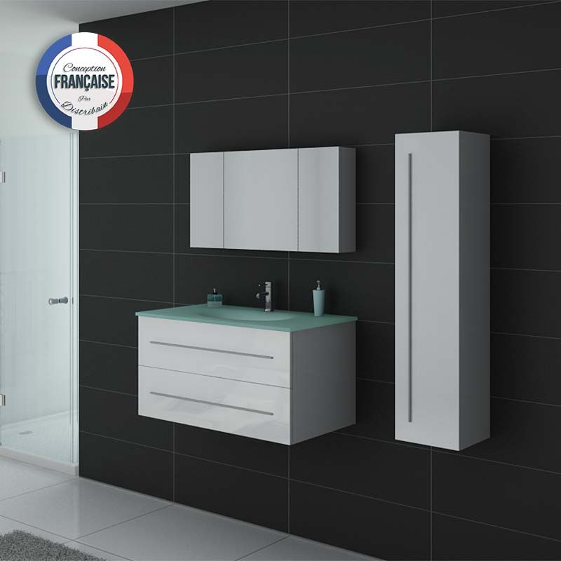 Meuble simple vasque DIS983 Blanc