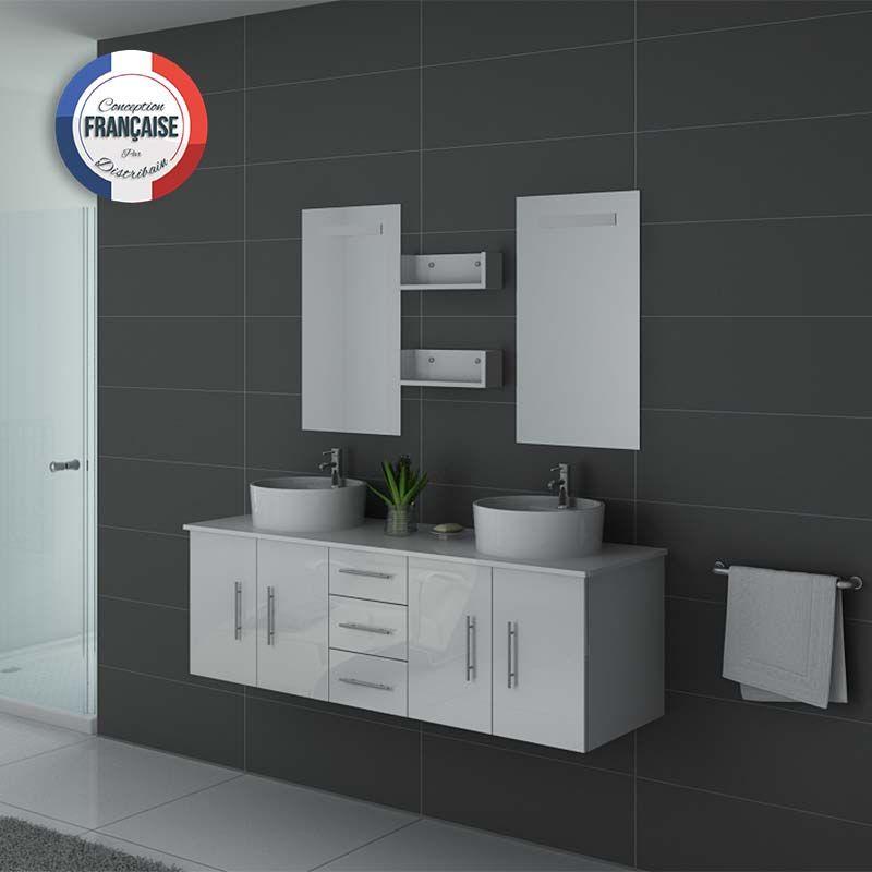 Mobilier blanc laqué complet pour salle de bain deux vasques rondes