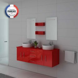 Meuble de salle de bain double vasque rouge